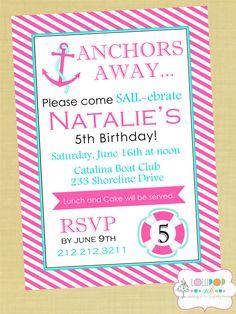 Sailebrate birthday invite anchor nautical birthday girls nautical birthday party invitations etsy stopboris Image collections