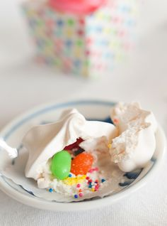 Pinata Meringues - so sweet and filled with treats! I LOVE this idea. Little surprise inside! From asubtlerevelry.com