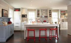 Patriotic red white and blue kitchen