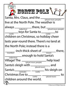 North Pole Mad Lib Source by amy_hannewald and me activities Holiday Games, Christmas Party Games, Christmas Activities, Holiday Fun, Activities For Kids, Xmas Party, Holiday Parties, Holiday Crafts, Holiday Ideas