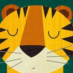 Retro Animals Tiger by Rebecca Elliott Canvas Art