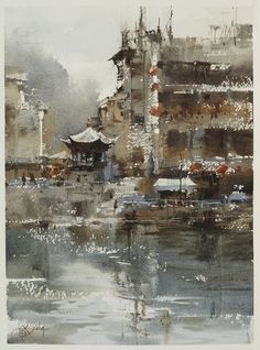 Chien Chung-Wei Plein air in ZhenYuan town part 1,....Chien Chung-Wei 中山國際水彩名家邀請展的貴州寫生之旅第五天----鎮遠古鎮 之1