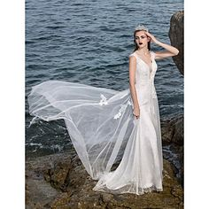 A-line V-neck Charmeuse Court Train Wedding Dresses – CAD $ 332.49  reception dress