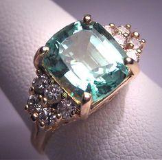 Vintage Aquamarine Diamond Ring Estate Art by AawsombleiJewelry, $2950.00