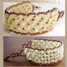 Diagrams for making the Traversine beaded bracelet. Instructions are in French but the diagrams for this right-angle weave (RAW) pattern are clear enough to follow.
