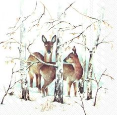 4 Vintage Paper Napkins for Party Lunch Decoupage Decopatch Roe-Deer & Forset
