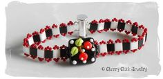 Cherry Square Lampwork Beaded Bracelet