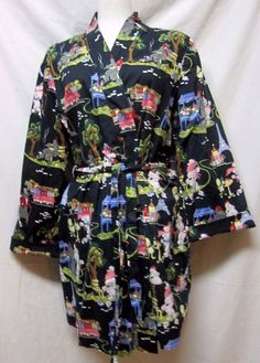 NICK+NORA Short BATHROBE retro Poodles Paris Print on Black Womens L/XL #NickNora #Robes
