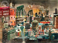 Dong Kingman - Looking East, Brooklyn Bridge, 1948 - California art - fine art print for sale, giclee watercolor print - Californiawatercolor.com