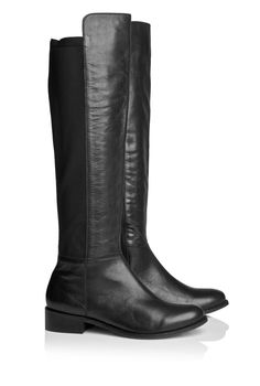 Leather Stretch Back Knee Boot