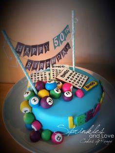 50th Birthday Bingo Cake with Bunting Detail. Cake flavor - Lemon Vanilla with Vanilla Bean Buttercream and Raspberry Jam Syrup