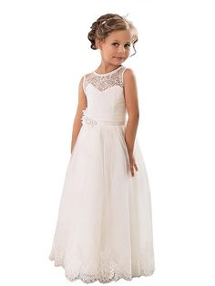 71156f243e7f Aprildress White Ivory Lace Flower Girl Dress First Communion Dresses  ALD063 Lace Flower Girls, Flower