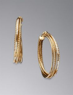 David Yurman: Cable Threads Hoop Earrings, Pave Diamond