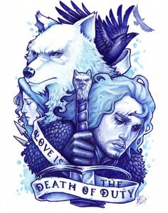 Game of thrones : Love is the death of duty by Medusa-Dollmaker Game Of Thrones Tattoo, Game Of Thrones Tv, Snow Tattoo, My Champion, Fire Art, Fire And Ice, Doll Maker, Favim, Winter Is Coming
