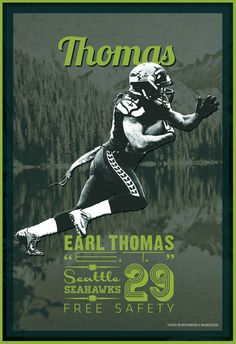 Earl Thomas / Seattle Seahawks / 12th Man / Football Poster available @ etsy.me/11s34sJ