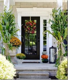 Here are 30 Creepy and Pretty Front Entry Decorating Ideas for Fall that are very easy. Hope you like these Pretty Front Entry Decorating Ideas for Fall. Front Door Design, Front Door Decor, Front Door With Glass, Front Door Plants, Glass Door, Traditional Porch, Black Front Doors, Front Entry, Front Porch
