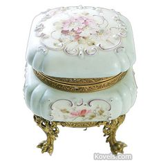 Antiques Wave Crest Dresser Box, Blue Opaline Glass, Medallions, Painted Flowers, Paw Feet,C.F.Monroe