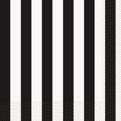 Black & White Striped Beverage Napkins - 16 Pk Party Supplies Canada - Open A Party