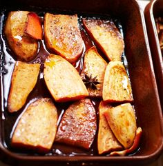 Roasted Sweet Potatoes with Maple Syrup, Orange & Spices • 3 3/4 LB sweet potatoes, peeled • 1 1/4 cup maple syrup • 1/4 C vegetable oil • 1 1/4 tsp ground cinnamon • 1/2 tsp ground cloves • 1 large orange • 3 star anises