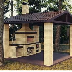 58 outdoor kitchen designs that look neat and comfortable for outdoor cooking 29 - kinal. Rustic Outdoor Kitchens, Outdoor Kitchen Patio, Outdoor Kitchen Design, Outdoor Dining, Outdoor Decor, Outdoor Oven, Pergola Patio, Backyard Patio, Backyard Landscaping