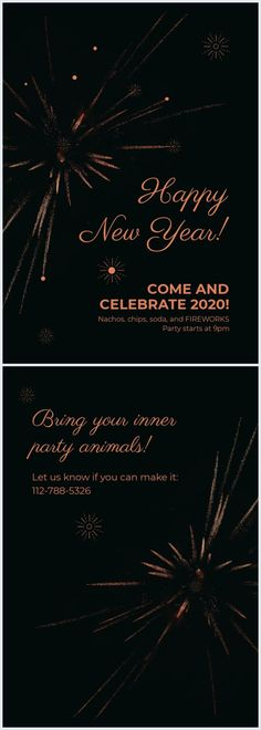 Take this modern New Year Party Invitation template and organize the best party of the year. All you need to do is to add the details of your party and change the colors or fonts. Save and spread it around. Share your final invitation design also with us! Best Templates, Card Templates, Pizza Wedding, Fireworks Design, Online Cards, New Years Party, Everyone Knows, Best Part Of Me, Invitation Design