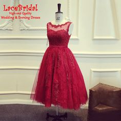 Find More Cocktail Dresses Information about Luxury Burgundy A Line Beaded Applique Lace Cocktail Dresses 2016 Low V Back Tea Length Party Prom Gowns robe de cocktail TC8,High Quality gown kids,China dress evening gowns Suppliers, Cheap gown pageant from LaceBridal on Aliexpress.com