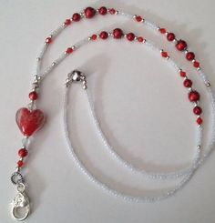 Winter White and Red Berry Lanyard ❤️