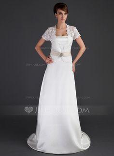 Wedding Dresses - $118.99 - Sheath/Column Sweetheart Court Train Satin Wedding Dress (002004549) http://jjshouse.com/Sheath-Column-Sweetheart-Court-Train-Satin-Wedding-Dress-002004549-g4549