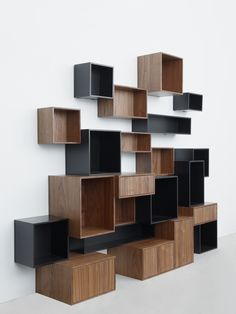 The innovative company in Dusseldorf myMITO presented in your idea of modular shelving systems - cubits. Refined and original designs offer a practical Modular Shelving, Modular Storage, Shelving Systems, Shelf System, Storage Shelving, Modular Furniture, Furniture Plans, Home Furniture, Furniture Design