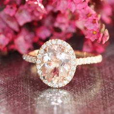 Halo Diamond and Morganite Engagement Ring in 14k by LaMoreDesign