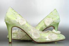 Float down the aisle on spring breeze. (www.elliewren.com) #customweddingshoes #greenweddingshoes #laceweddingshoes