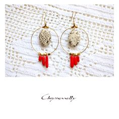 JEWELRY | Chryssomally || Art & Fashion Designer - Gold boho luxe geometric earrings with beige jasper and red corals