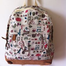 New Ladies Canvas Rucksack Backpack Shoulder Bag Woodland Owl Squirrel Hedgehog