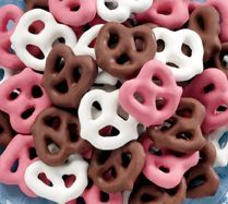 Pink and white pretzels as favors with Rice crispys