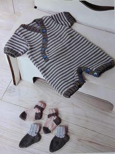 Patrón para tejer un enterito rayado en hilo de algodón (Talle 3 a 6 meses)