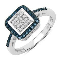 0.28 Carat Genuine Blue Diamond & White Diamond .925 Sterling Silver Ring