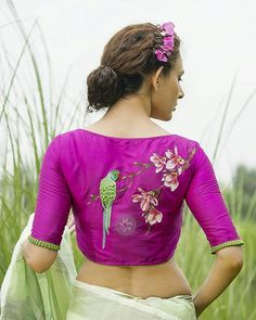 blouse designs Blouses designs with embroidery have always been in the trend. A designer Sayanti Ghosh creates exceptional and mind-blowing blouse designs with embroidery. Blouse Back Neck Designs, Hand Work Blouse Design, Simple Blouse Designs, Stylish Blouse Design, Saree Blouse Patterns, Fancy Blouse Designs, Bridal Blouse Designs, Saree Blouse Designs, Embroidery Fashion