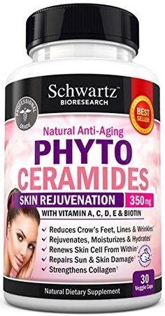 Phytoceramides 350 mg with Biotin 5000 - Gluten Free Powerful Anti-Aging Skin Care Vitamins and Skin Rejuvenation. Plant Derived - Formulated by Doctors - Works for Hair Skin and Nails * Visit the image link more details.