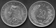 Antiga Lira turca (1923-2005) (x) 50 kurus (1971-1979) O: imagem de uma noiva…