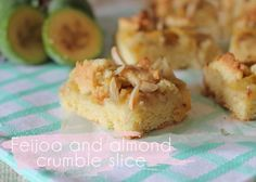 This beautifully fragrant feijoa and almond crumble slice is sure to be a hit with the feijoa-fans in your life - and no one will believe how simple it is!