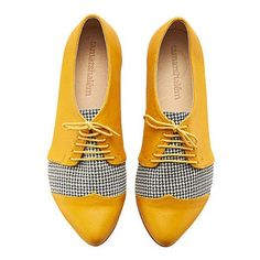 Winter Yellow Pepita Oxford Shoes Polly Jean Handmade Flats Leather... ($168) ❤ liked on Polyvore featuring shoes, oxfords, silver, women's shoes, leather brogues, yellow shoes, flat oxfords, low heel shoes and yellow oxfords