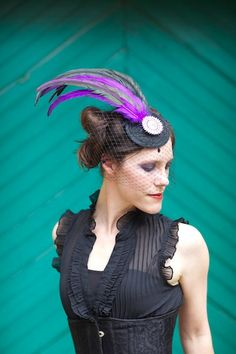 Black Fascinator Hat with Purple and Black Feathers Crystal Center and Veil - LE BEAU via Etsy.