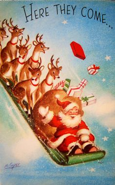 Christmas, santa, reindeer , Vintage Christmas Card