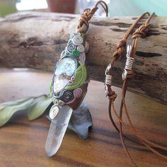 polymer clay pendant, healing stones, healing crystal, handmade Jewelry, pendants, pagan, gemstones, freaky, boho, tribal, Berg crystal, Paua shell by WildMountainStar