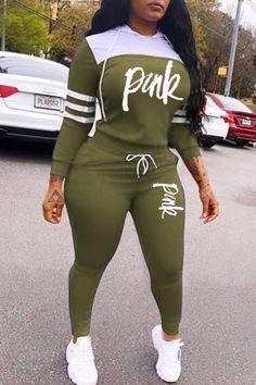 Lovely Casual Hooded Collar Letter Army Green Two-piece Pants Set Wholesale Clothing Online Store. We Offer Top Good Quality Cheap Clothes For Women And Men Clothing Wholesaler, # Cute Sporty Outfits, Casual Fall Outfits, Sexy Outfits, Cool Outfits, Fashion Outfits, Stylish Outfits, Two Piece Pants Set, Vetement Fashion, Wholesale Clothing