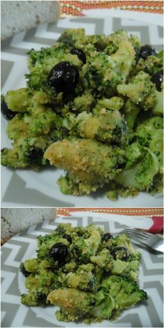 Broccoli gustosi, con olive nere e pangrattato! - Replace anchovies with 1 tbsp chopped capers + 1 tbsp vegan 'fish' sauce. Vegetable Sides, Vegetable Side Dishes, Vegetable Recipes, Vegan Recipes Easy, Italian Recipes, Cena Light, Healthy Snacks, Healthy Eating, My Favorite Food