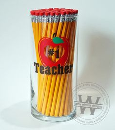 Vinyl Lettering Personalized Pencil Holder - Teacher A glass pencil holder that hold approximately 70 pencils in a very stylish way. Locker Accessories, Binder Covers, Vinyl Lettering, Red Apple, Pencil Holders, Teacher Gifts, Layout Design, Geek Stuff, Primary Music