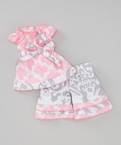Another great find on #zulily! Pink & Gray Lattice & Damask Doll Outfit by AnnLoren #zulilyfinds