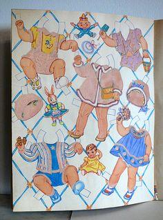 Antique Flocked Paper Dolls Whitman Book 961 Baby Dolls