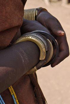 Africa | Details of the traditional bracelets worn by the Datoga tribe women. Photo taken in Tanzania | © Rita Willaert
